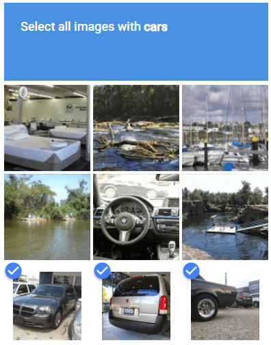 Google's reCAPTCHA. Select all the images of cars.