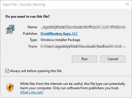 KeePassXC Windows 10 security warning.
